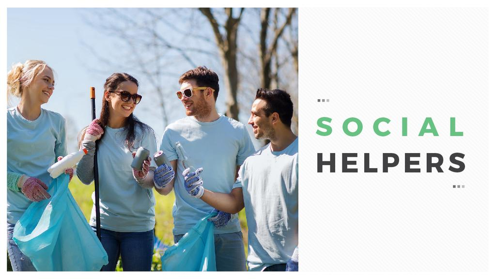 Ecological Event Volunteers Collecting Garbage | Youtube Thumbnail Template — Créer un visuel