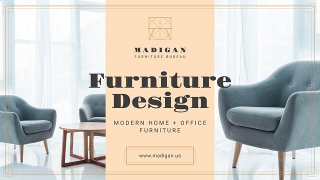 Furniture Design Studio Ad with Armchairs in Grey Presentation Wide – шаблон для дизайна