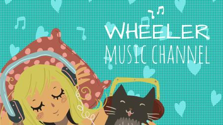 Plantilla de diseño de Music Listening Girl and Cat in Headphones Full HD video