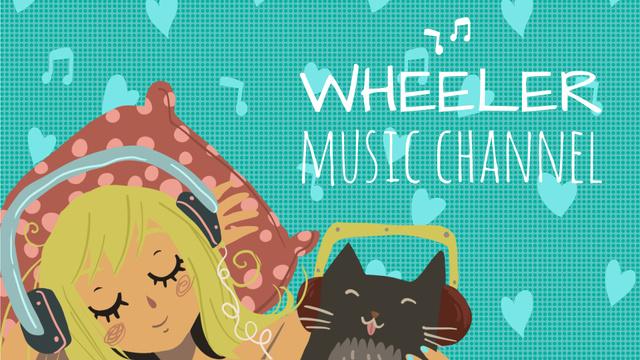 Music Listening Girl and Cat in Headphones Full HD video Modelo de Design