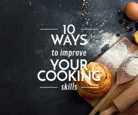 Improving Cooking Skills poster with freshly baked bun Medium Rectangle Design Template