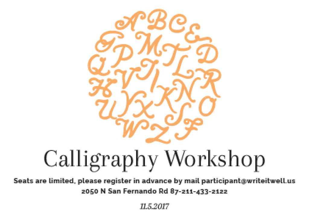 Calligraphy Workshop Announcement Letters in Orange — Створити дизайн