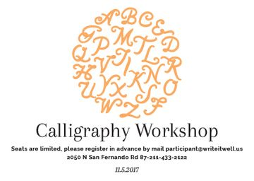 Calligraphy Workshop Announcement Letters in Orange | Postcard Template