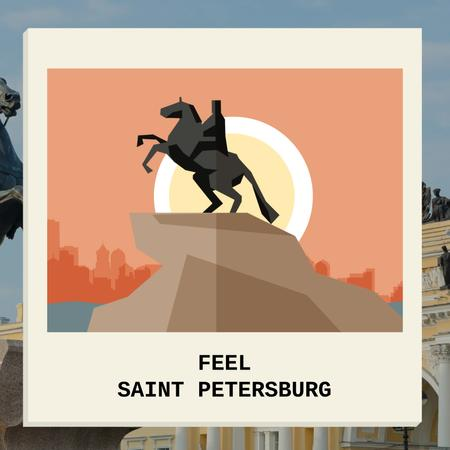 Saint Petersburg Famous Travel Spot Animated Postデザインテンプレート
