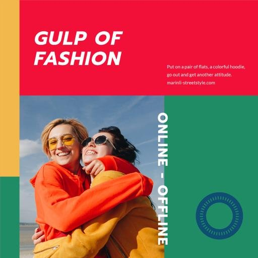 Fashion Collection Ad With Happy Women Hugging InstagramPost