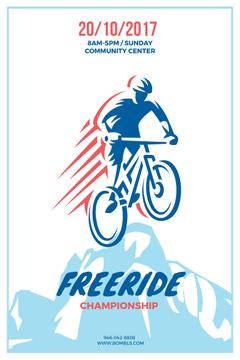 Freeride Championship Announcement Cyclist in Mountains | Pinterest Template