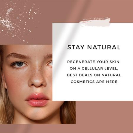 Plantilla de diseño de Cosmetics Offer with Girl without makeup Instagram