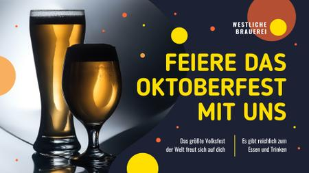 Oktoberfest Offer Beer in Glasses FB event coverデザインテンプレート