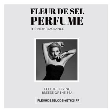 Perfume ad with Fashionable Woman in Black