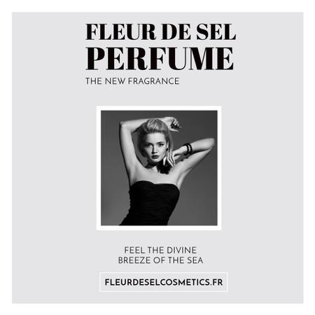 Perfume ad with Fashionable Woman in Black Instagram AD Tasarım Şablonu