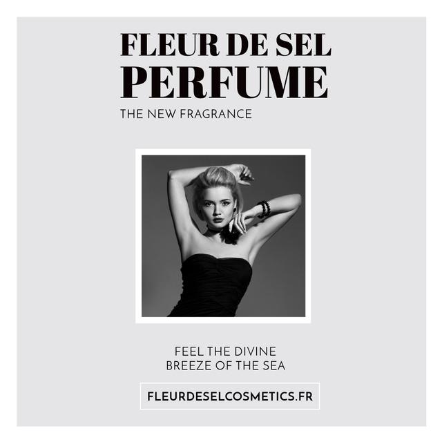 Plantilla de diseño de Perfume ad with Fashionable Woman in Black Instagram AD