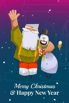 Christ,as greeting Santa Claus with snowman