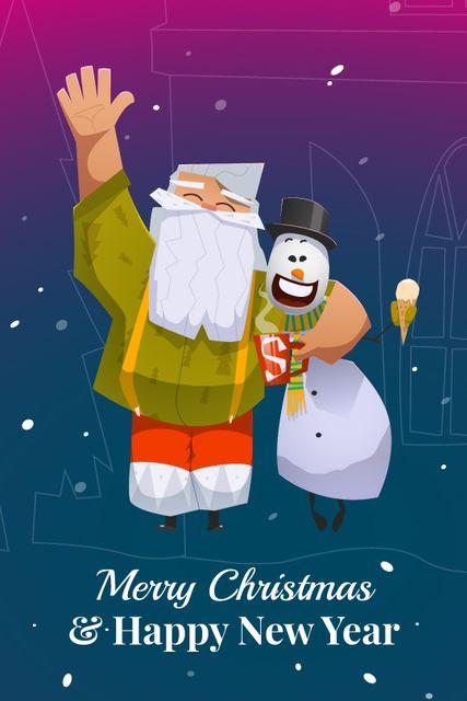 Christ,as greeting Santa Claus with snowman Tumblr Design Template