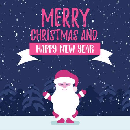 Plantilla de diseño de Сhristmas with Funny jumping Santa Claus Animated Post