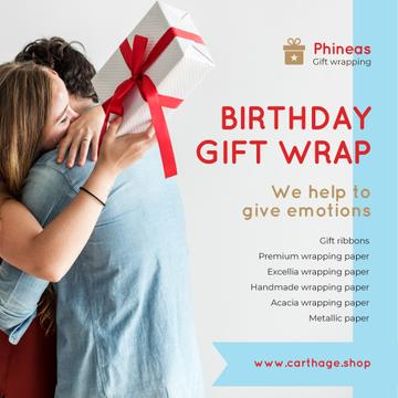 Birthday Offer Couple with Gift Box   Instagram Post Template