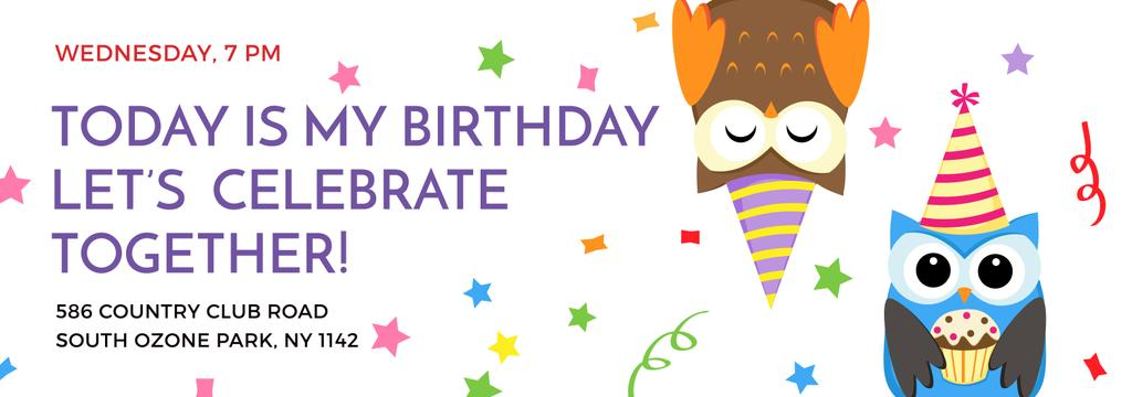 Birthday Invitation with Party Owls | Tumblr Banner Template — Modelo de projeto