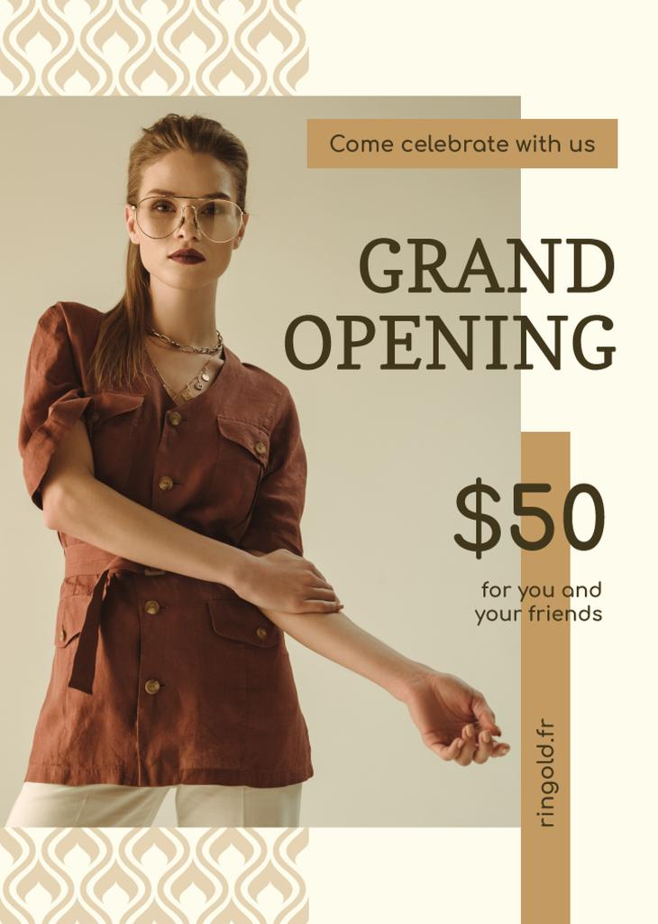Grand Opening Fashionable Woman in Brown Outfit — Создать дизайн