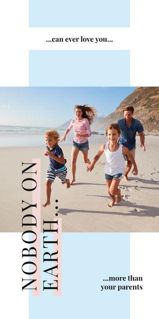 Modèle de visuel Parents with kids having fun at seacoast - Graphic