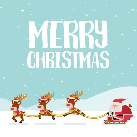 Santa riding in sleigh on Christmas Animated Post Modelo de Design