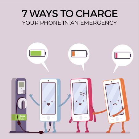 Cell phones charging Animated Post Modelo de Design