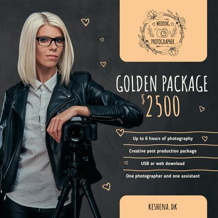 Event Photographer by Camera on Tripod in Black Instagram AD – шаблон для дизайну