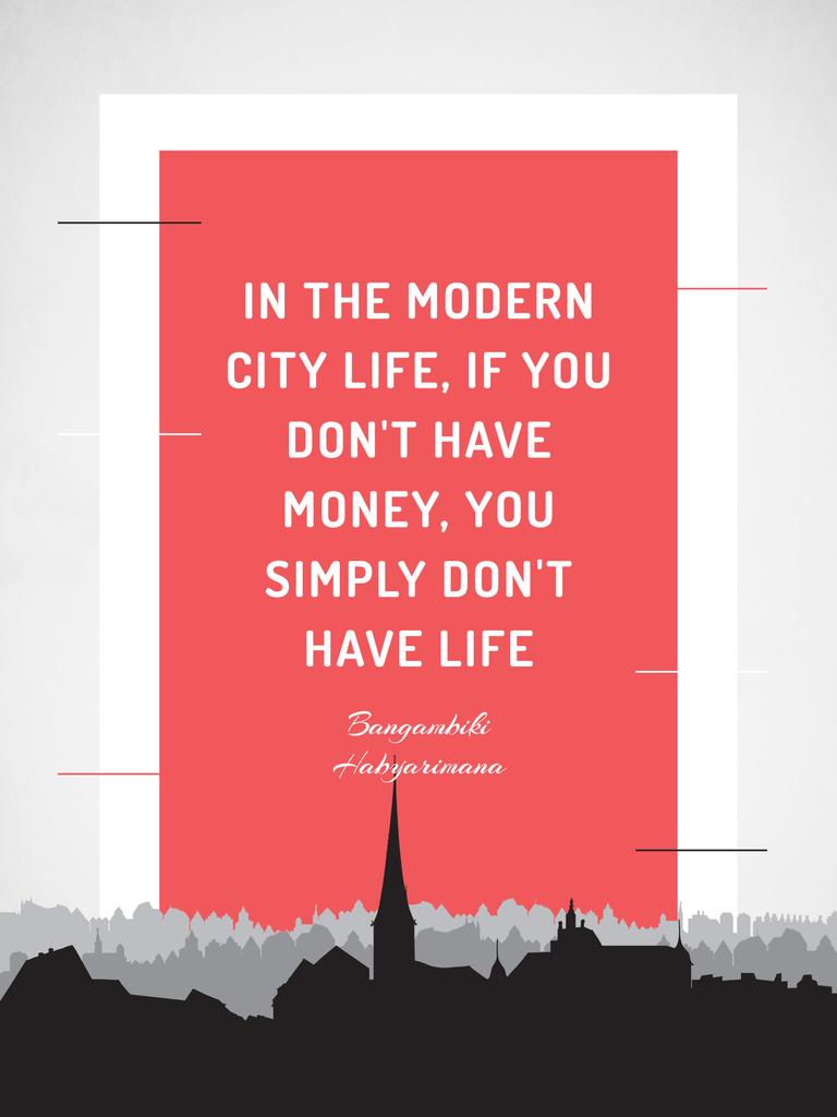 Citation about money in modern city life — ein Design erstellen