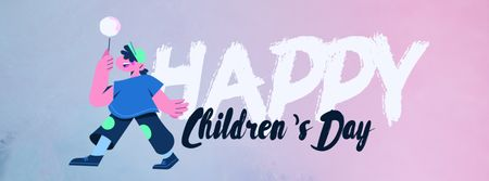Children's Day Greeting Happy Kid with Candy Facebook Video cover Design Template