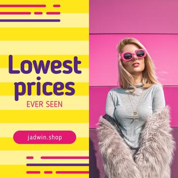 Fashion Ad with Woman in Fur Coat for Instagram Post in Pink