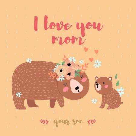 Brown bear with its cub on Mother's Day Instagram – шаблон для дизайну