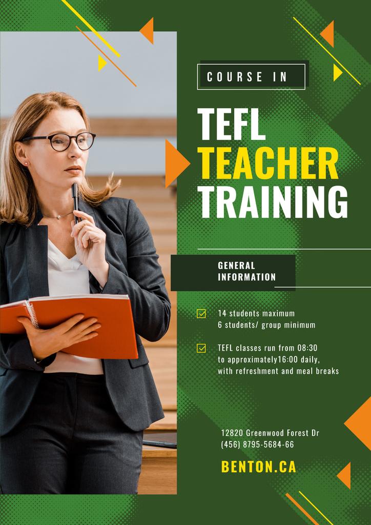 Education Event Announcement Woman with Folder | Poster Template — Créer un visuel