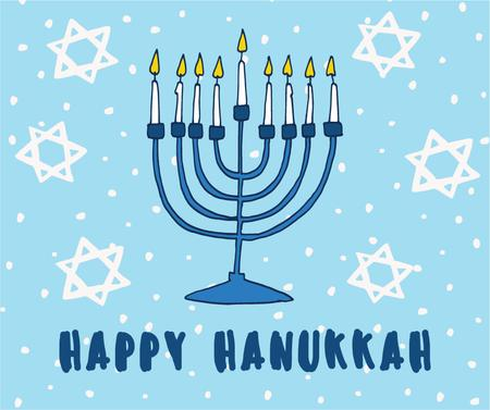 Template di design Happy Hanukkah Greeting with Menorah and Star of David Facebook