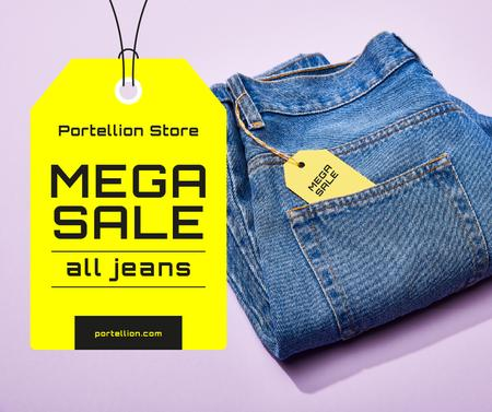 Fashion Sale Blue Jeans with Tag Facebook Design Template