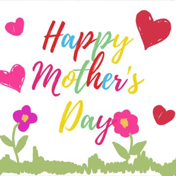 Mothers Day Greeting with Blooming flowers with hearts