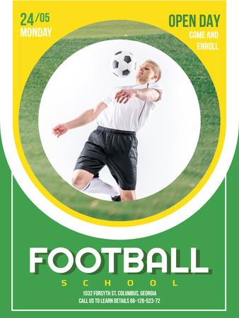 Football School Ad Boy playing with Ball Poster USデザインテンプレート