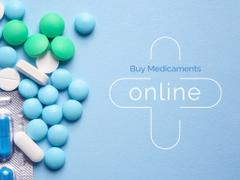Medicaments Ad with Pills on Blue Surface