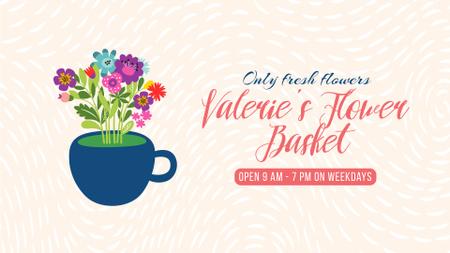 Florist Service Flowers Blooming in Cup Full HD video Modelo de Design