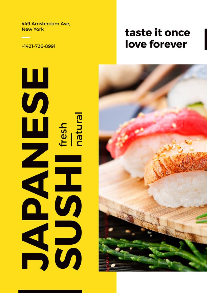 Japanese sushi advertisement poster — Modelo de projeto