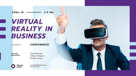 Plantilla de diseño de Virtual Reality Guide Businessman in VR Glasses FB event cover