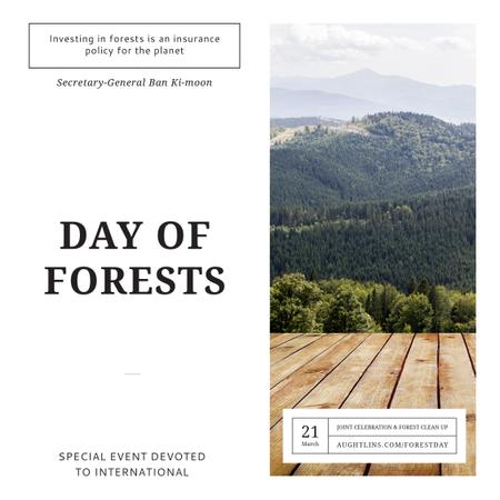 Plantilla de diseño de International Day of Forests Event Scenic Mountains Instagram AD
