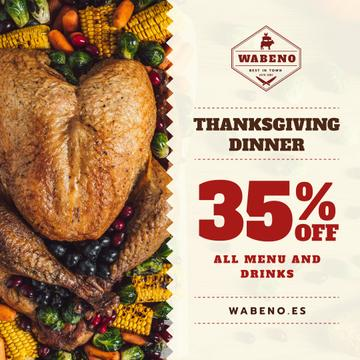 Thanksgiving Sale Dinner with Roasted Turkey | Instagram Post Template