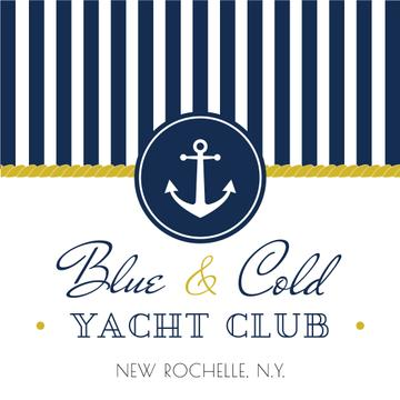 Yacht club advertisement with blue stripes