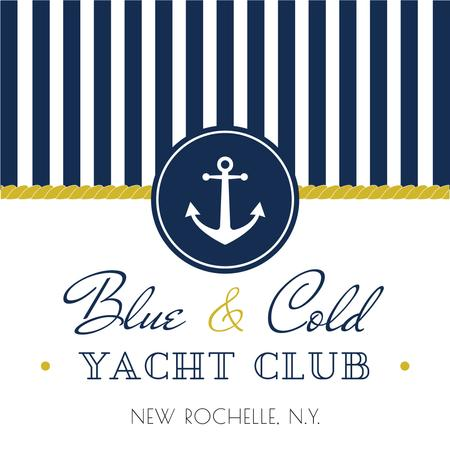 Yacht club advertisement with blue stripes Instagram AD – шаблон для дизайну