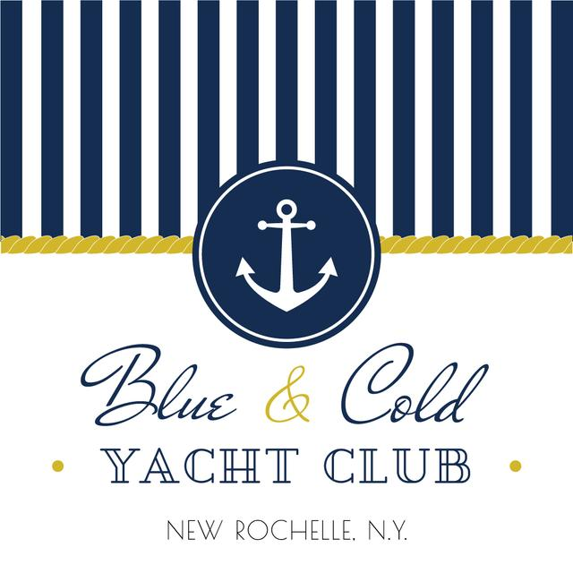 Ontwerpsjabloon van Instagram AD van Yacht club advertisement with blue stripes