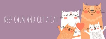 Ontwerpsjabloon van Facebook cover van Quote with cute Family of Cats