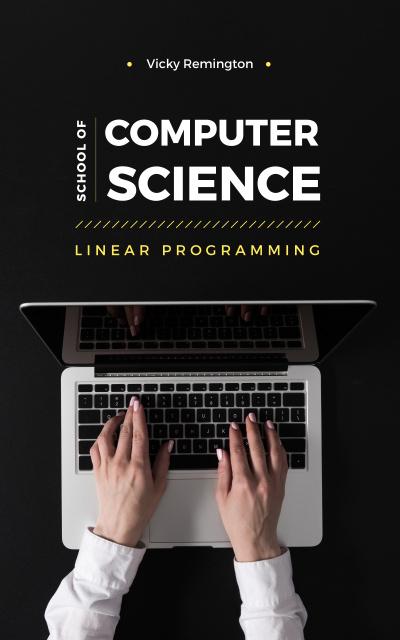 Woman typing on laptop Book Cover Modelo de Design