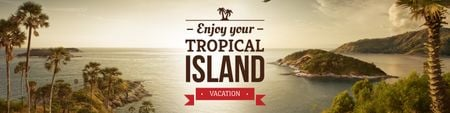 Exotic tropical island vacation Twitter Modelo de Design