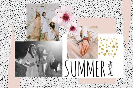 Fashion Offer with Tender Young Women Mood Board – шаблон для дизайну