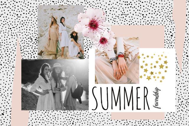 Fashion Offer with Tender Young Women Mood Board – шаблон для дизайну