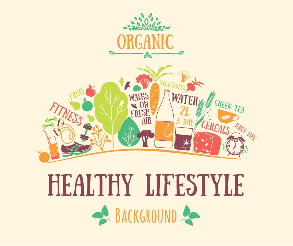 Healthy Lifestyle Attributes Icons | Facebook Post Template — Создать дизайн