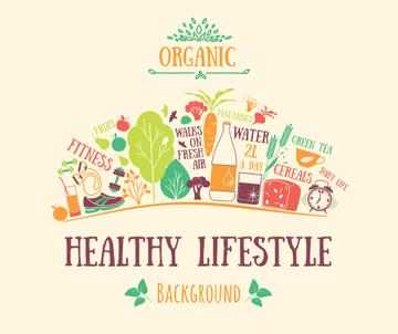 Healthy Lifestyle Attributes Icons | Facebook Post Template